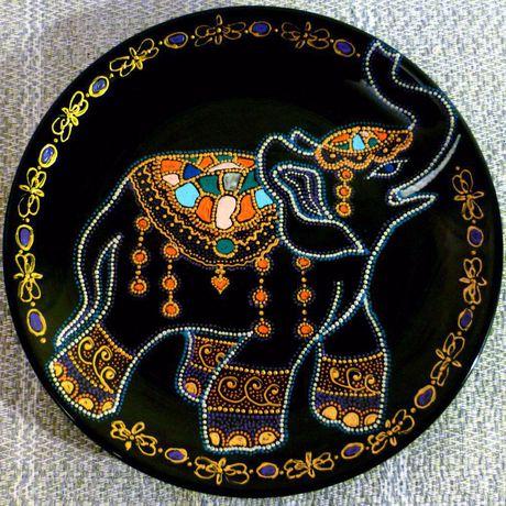 декоративнаятарелка тарелка точечнаяроспись handmade декор ручнаяработа слон подарок