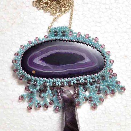 натуральный камень бисероплитение аметист. срез украшение ручная агат работа