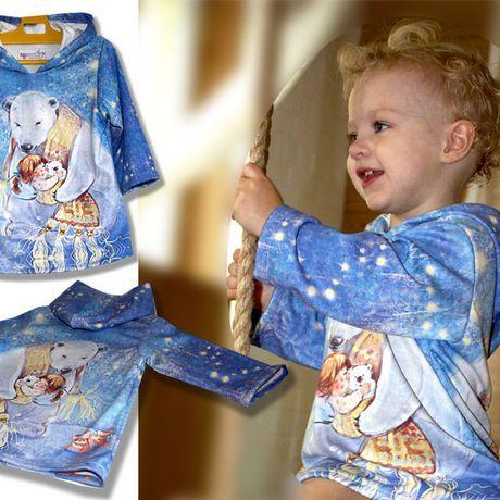 медведь печать голубое принт сублимация белый девочка оригинальное шарф синее капюшон удобное звезды платье
