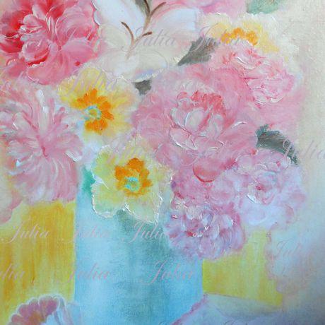 бабочки ручная живопись работа цветы розовый свет масло картина