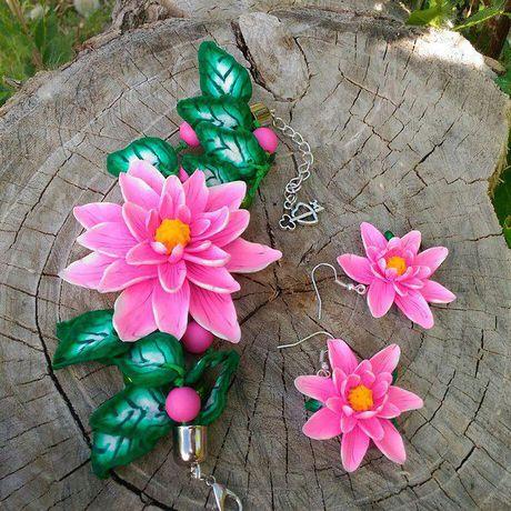серьги браслет ручнаяработа розовый подарок листики лотос красивыеплатья