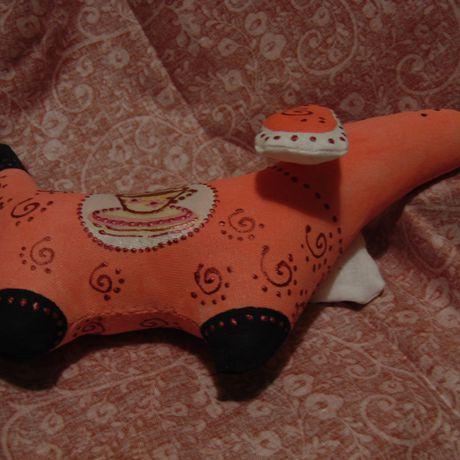 игрушка таксаручная работатекстильная handmadeрыжаяподарок