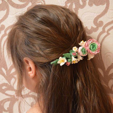 заколка свадьба украшние полимернаяглина цветы прическа