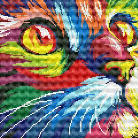 вышивка кошка животные ручная работа разноцветные картина подарок