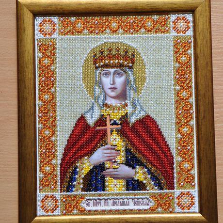 вышивка новый рама. праздник бисером. вера крестины. в икона рождения (людмила святого. технике размер чешская) день изображение религия раме. 21см*25см. деревянной на год подарок