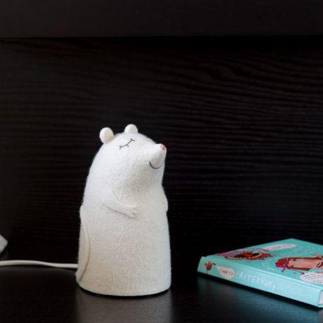 валяный ночник освещение войлок мышонок интерьер белый светильник мышь