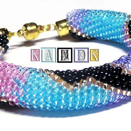 змей градиент миолетовый kandk украшение бисер браслет розовый голубой подарок