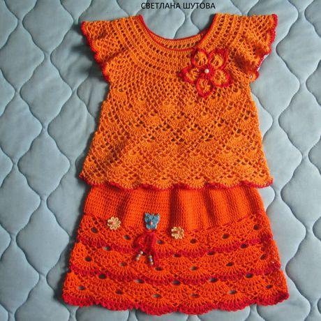 летний хлопок одежда юбка блузка вязание девочке ручнаяработа топик комплект