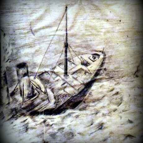 мягкий морская морской материал рисунок уголь морина караблекрушение шторм карандашем пучина море пейзаж