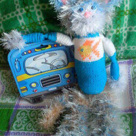игрушка вязаная котик эксклюзив
