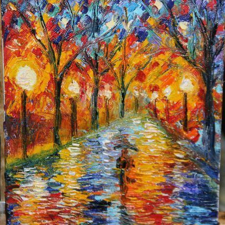 парк абстракция холст живопись ночь осень мастихин масло пейзаж