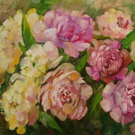 интерьера украшение маслом дома цветочная для живопись пионы души картина