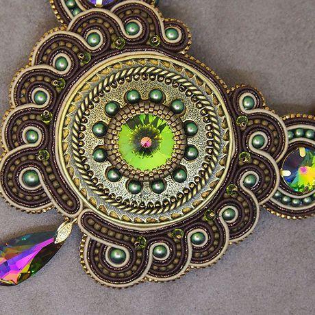 колье вышивка сутаж стимпанк сутажное сутажная бижутерия шею украшение подарок