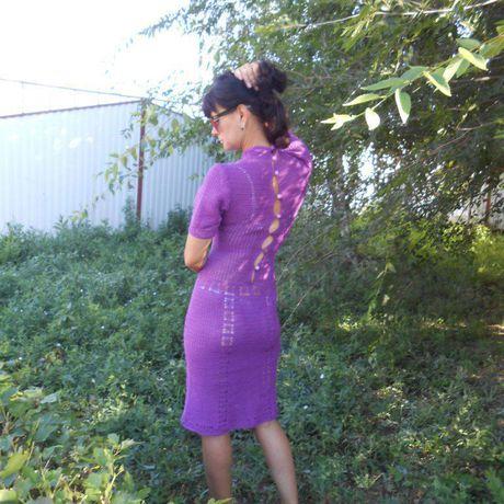 молодежная вязание платье вязанное летнее связано крючком мода