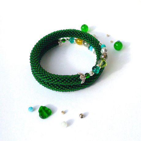 украшения бисер бусины браслет handmade бижутерия крючком memoryпроволока зеленый
