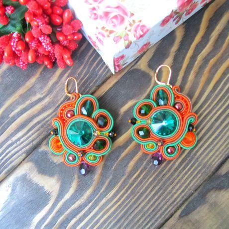 подарокдевушке необычныйподарок swarovski красивыесерьги эксклюзивныеукрашения модныеукрашения сутажныесерьги крупныесерьги стильныесерьги зеленыесерьги оранжевыесерьги
