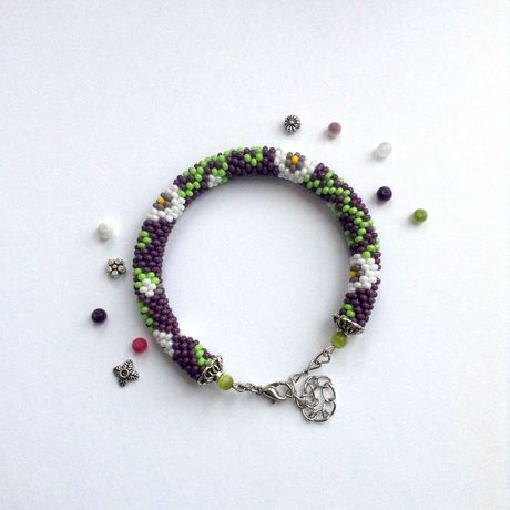 украшение бисер браслет handmade бижутерия крючком цветы