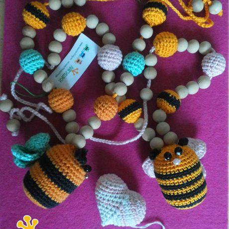 crochet nursingnecklace woodenbeads slingbeads babytoy bee пчёлка пчела трилягушки слингобусы вязаныебусы деревянныебусины погремушка