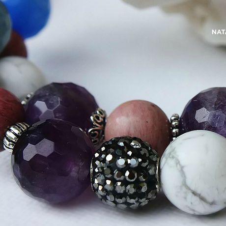 украшение браслет родонит кахолонг агат натуральные аметист серебро камни подарок