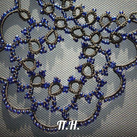 кружевные работы ручной подарок. оригинальный бисером украшения воротник с колье