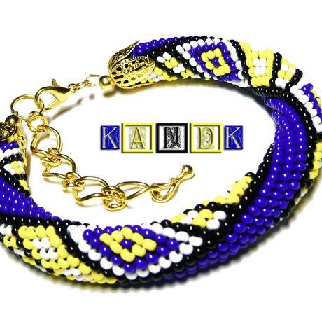 kandk бисер браслет синий желтый яркий