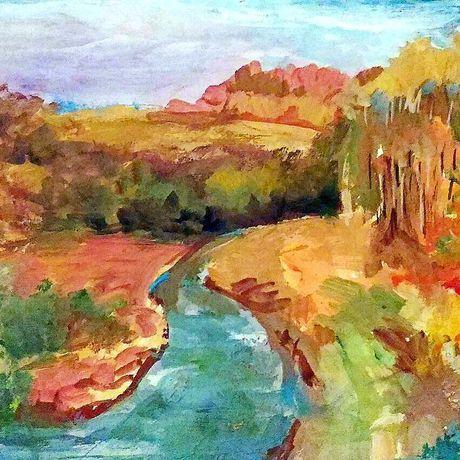 пейзаж картинаживопись авторская осень осени река интерьер работа краски картина
