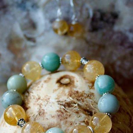 амазонит украшение браслет цитрин натуральные серебро камни подарок