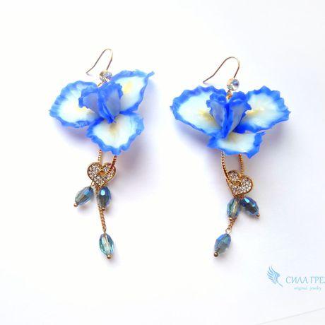 аксессуар силагрез серьги ирис голубой синий рукоделие украшение цветы
