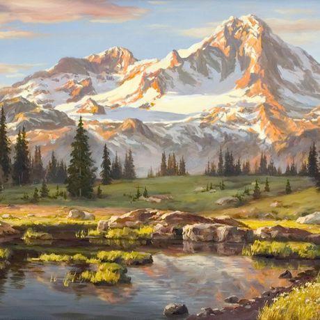 маслом рисунки современное искусство горы картина