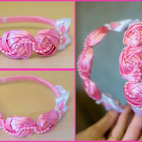 обруч красивый бусины канзаши ободок детский цветы розовый яркий атлас