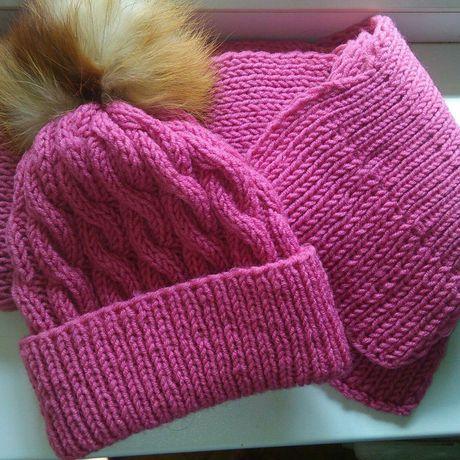 мех зимняя зимний шапка комплект шарф розовый