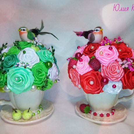 подарки лент чайная атласных из пара цветы