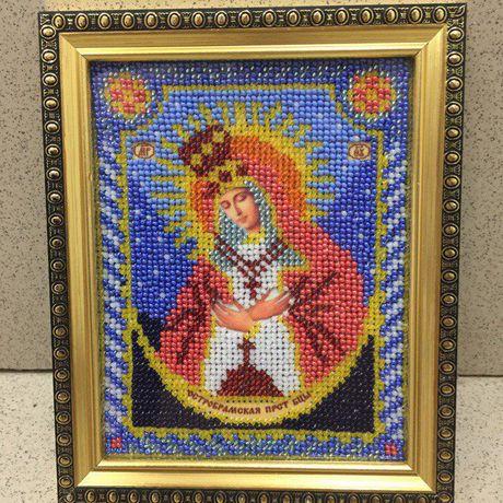 вышивка бисер бисером икона ручнаяработа иконы картина подарок вышивкабисером иконабисером картинабисером остробрамская иконабожиейматери