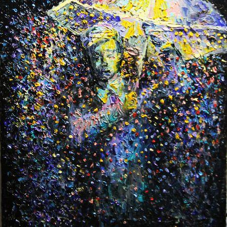 абстракция город дождь парк вечер холст живопись ночь осень мастихин масло пейзаж