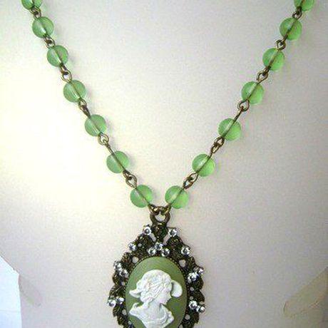 винтаж девушки женщины зелёный для купить камея бижутерия кулон кулоны подарок камеей камеи