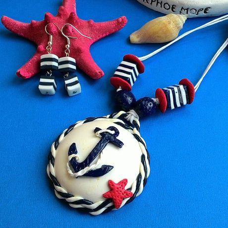 украшения серьги морскойстиль ручнаяработа кулон стиль морскойкулон