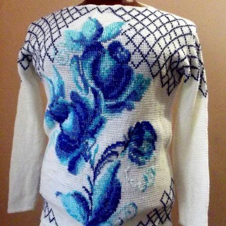 трикотаж авторский вязание ручной ручная вышивкой нарядный работа пуловер тунисское гжель