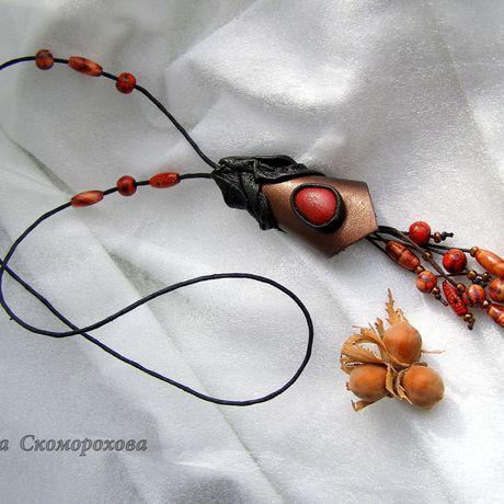 колье handmade изкожи кожа аксессуары бижутерия дляженщины стиль эко украшение ручнаяработа украшения подарок