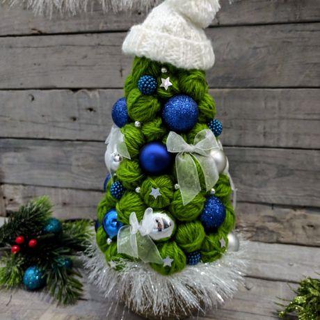 топиарий фоамиран елка пряжа новыйгод подарок