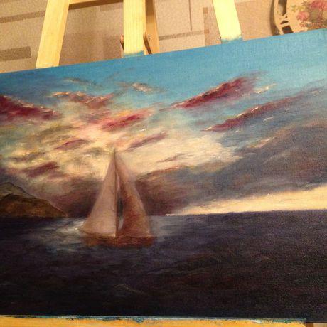парус  облака интерьер корабль живопись арт свет море небо картина пейзаж