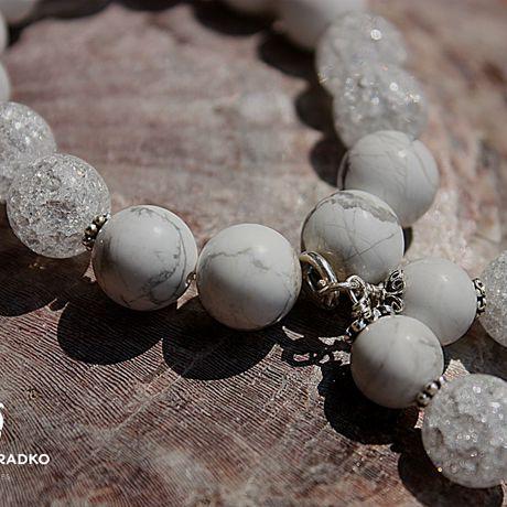 украшение браслет кахолонг айс-кварц натуральные серебро камни подарок