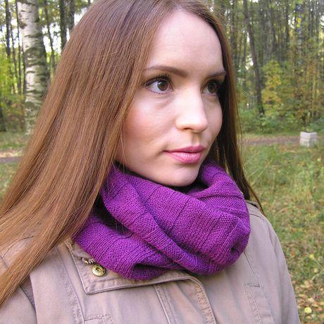 спицами труба вязаный сиреневый шарф женский снуд