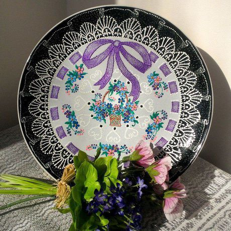 декоративнаятарелка тарелка точечнаяроспись handmade декор кружево ручнаяработа пасха незабудки подарок