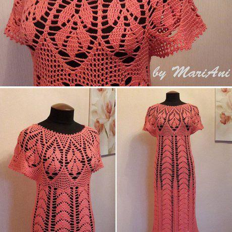 летнее хлопок вязание ручнаяработа крючок платье