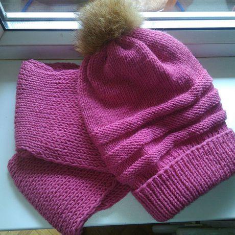 мех зимние шапка комплект шарф розовый