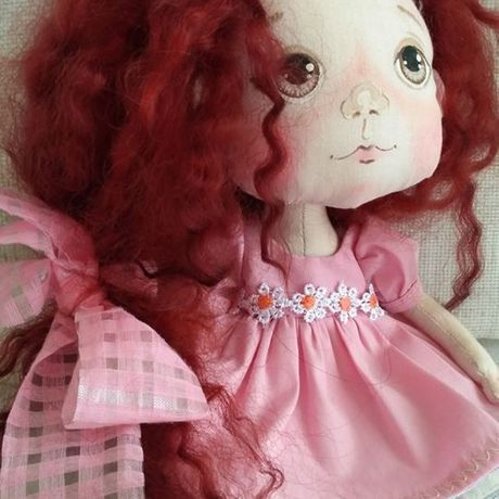 локоны куклатекстильнаяавторскаяовечьи рыжаярозовый подарок