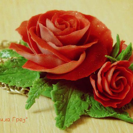 сила грез глина бордовый украшение полимерная ручная розы работа кулон цветы красный подарок