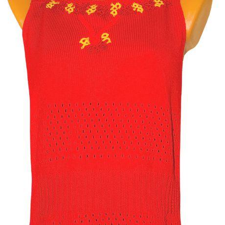 летний ажурный топ однотонный машинное вязаный ярко-красный авторский вязание дизайн фриволите