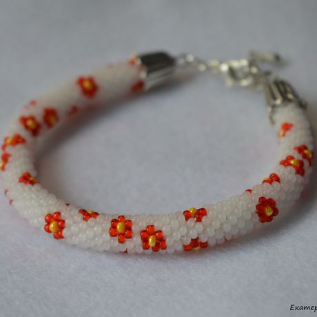 синийhandmade браслет белый цветы красный