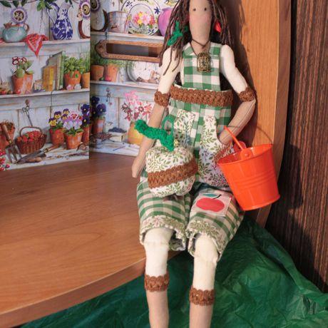 дача садовница клетка ведро сад девушка игрушка тильда интерьерная купить интерьер зеленый подарок